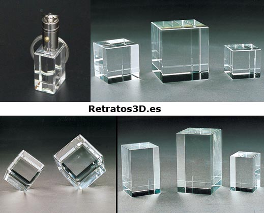 Tipos de cristal 3D disponibles.